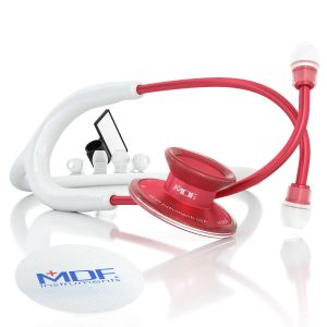 MDF® Acoustica® Lightweight Dual Head Stethoscope - Matte White and Red