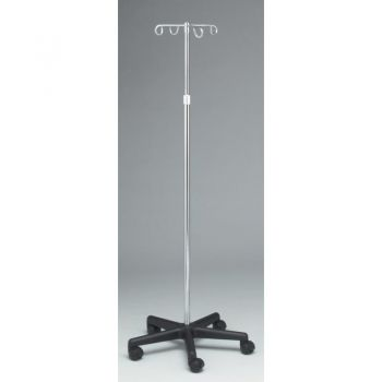 "Stand - IV Pole, 2 Hook, 5 Caster, Adjust 47"" - 84"""