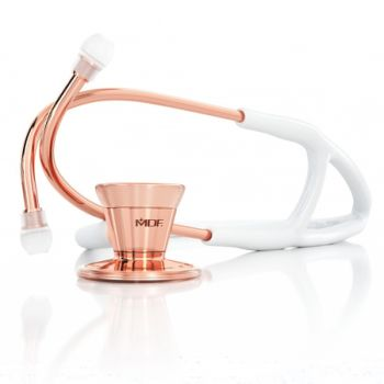 Rose Gold and White Classic Cardiology Stethoscope for Adult Patients